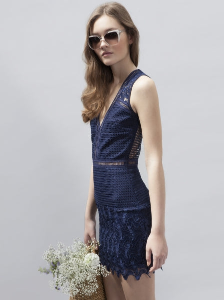 Navy Riot Dress - Eighty7 Boulevard