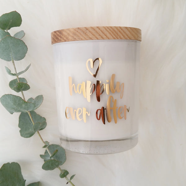 Happily Ever After Rose Gold Foil Gift Candle