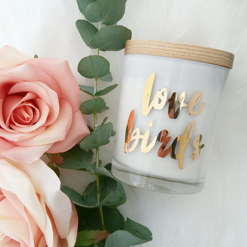 Love Birds Rose Gold Foil Gift Candle