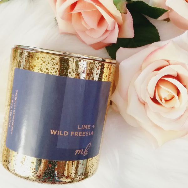 Luxe Crackle Soy Candle in Gold / Lime + Wild Freesia