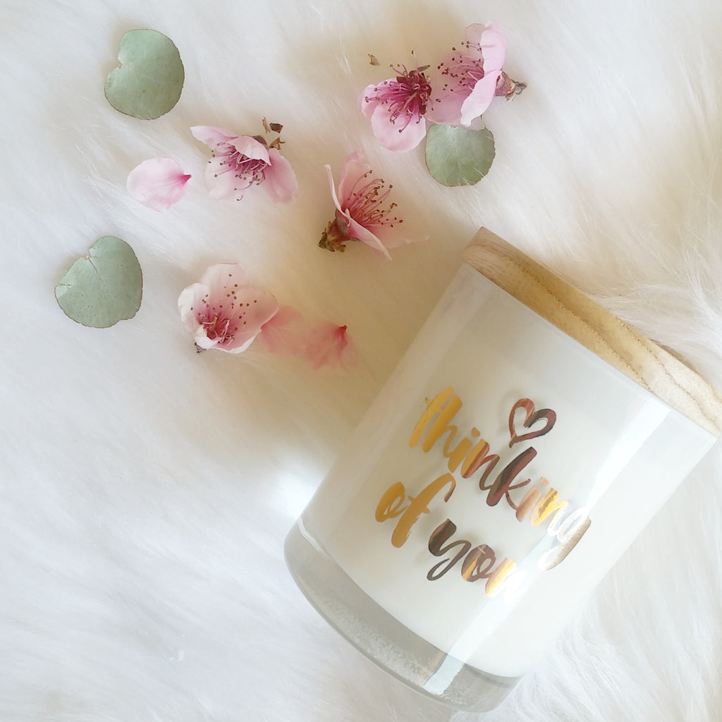 Thinking of You Rose Gold Foil Gift Candle