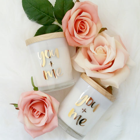You + Me Rose Gold Foil Gift Candle