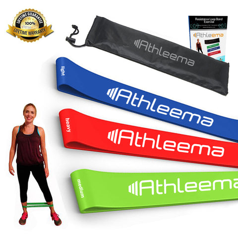 Athleema Set of 3 Loop Resistance Bands | Mini Loop Booty Bands for Glutes and Legs | Workout Bands for Arms, Ankle, Stretching, Physical Therapy, Pilates and CrossFit | Home and Gym Fitness Exercise