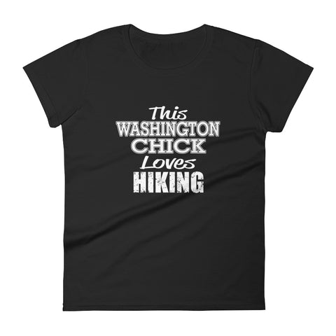 This Washington Chick Loves Hiking Women's short sleeve t-shirt