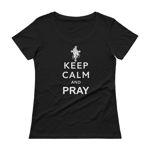 Keep Calm And Pray Ladies' Scoopneck T-Shirt