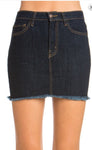 Frayed edge denim skirt