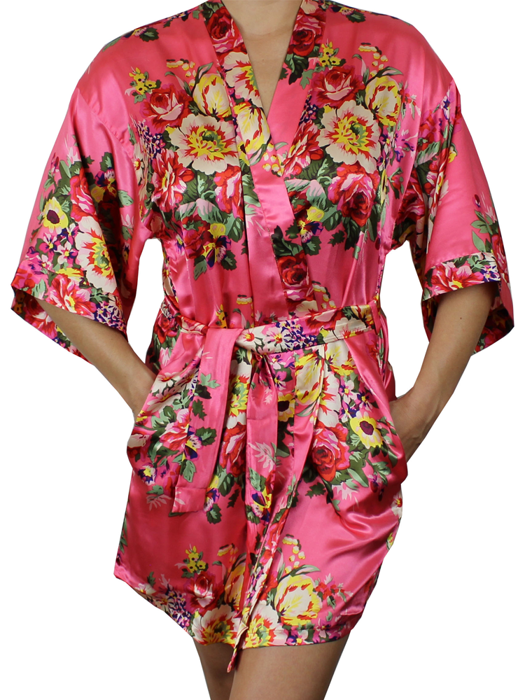 9b16a6639 Women's Floral Satin Kimono Short Robe - MsLovely