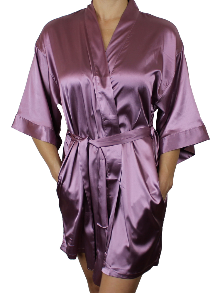 Women's Satin Kimono Short Robe with Pockets