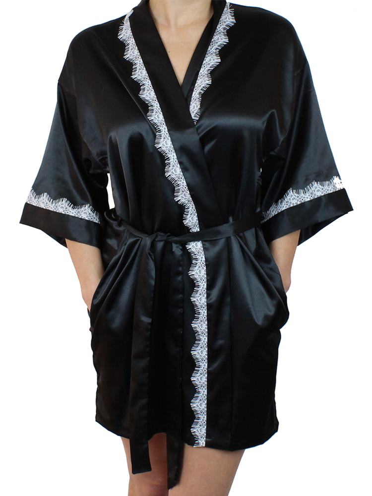 913a3448b6 Women s Satin Kimono Short Robe with Lace Trim. No reviews. MsLovely