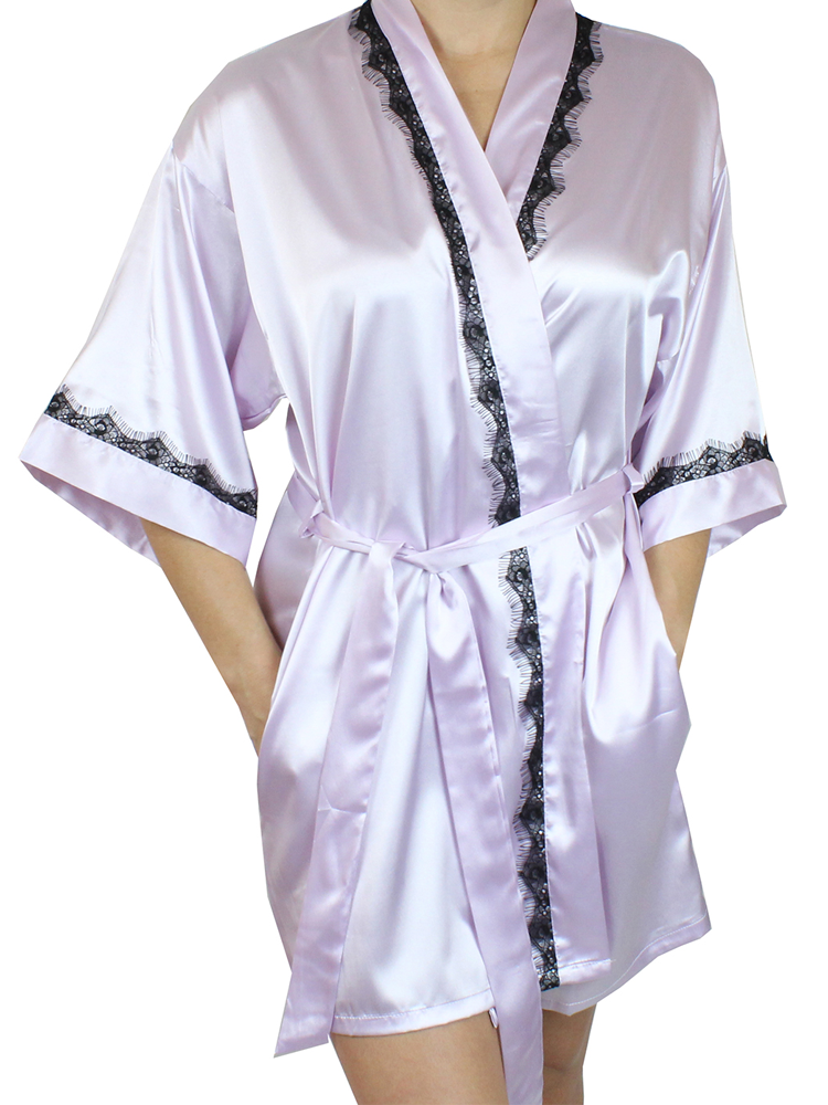 Women's Satin Kimono Short Robe with Lace Trim