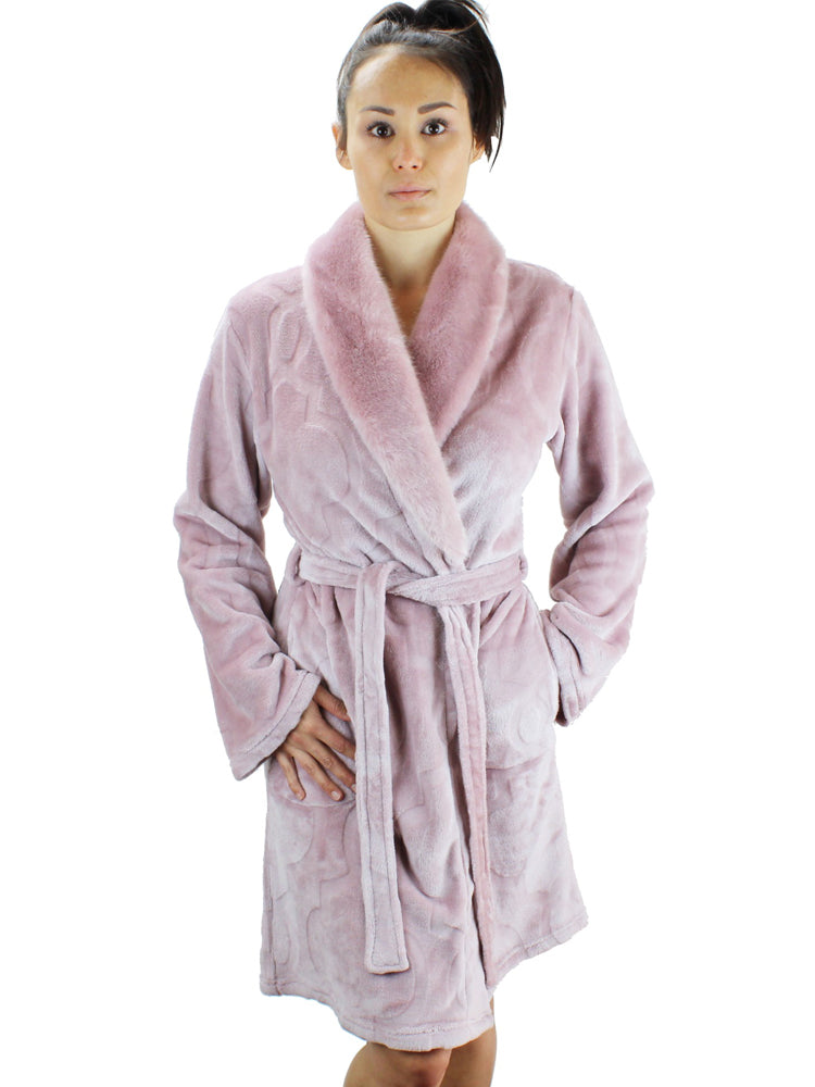 Short Fleece Robe with Faux Fur Collar