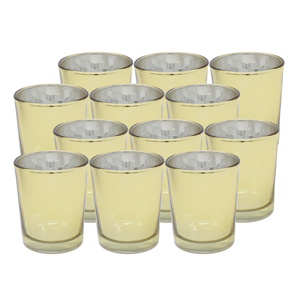 Ms Lovely Metallic Glass Votive Tealight Candle Holders - Set of 12