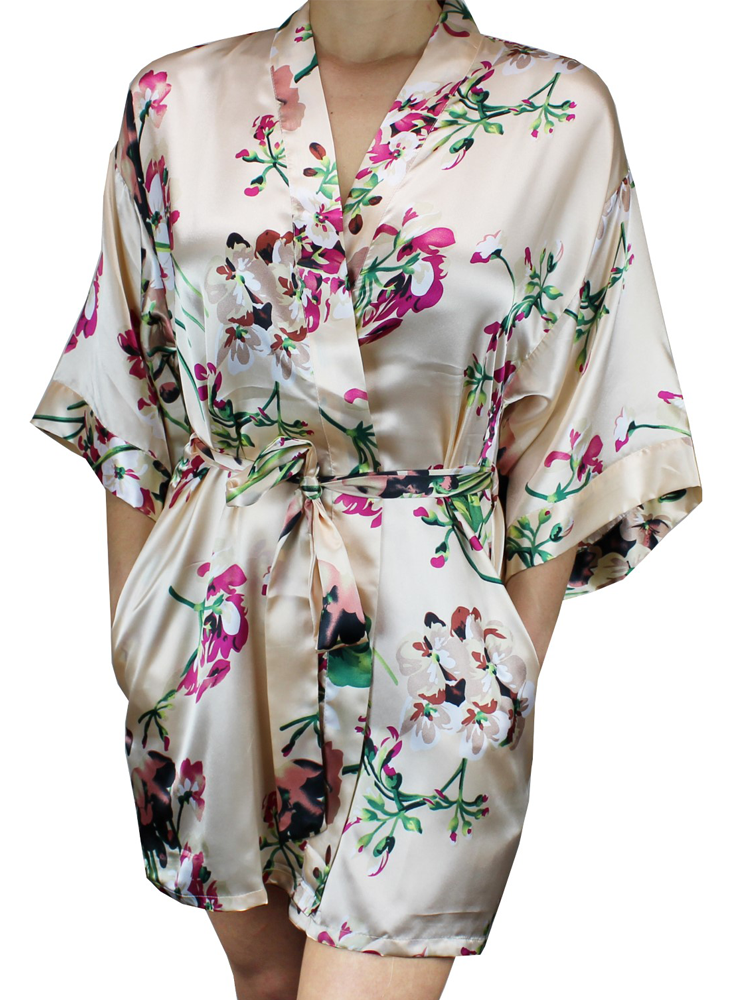 NEW Women's Floral Satin Kimono Short Robe