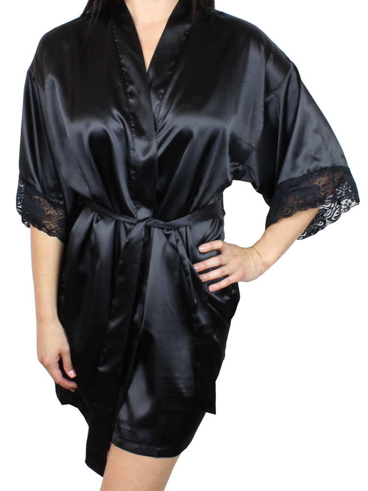 Women's Satin Kimono Short Robe with Lace Trim Sleeves