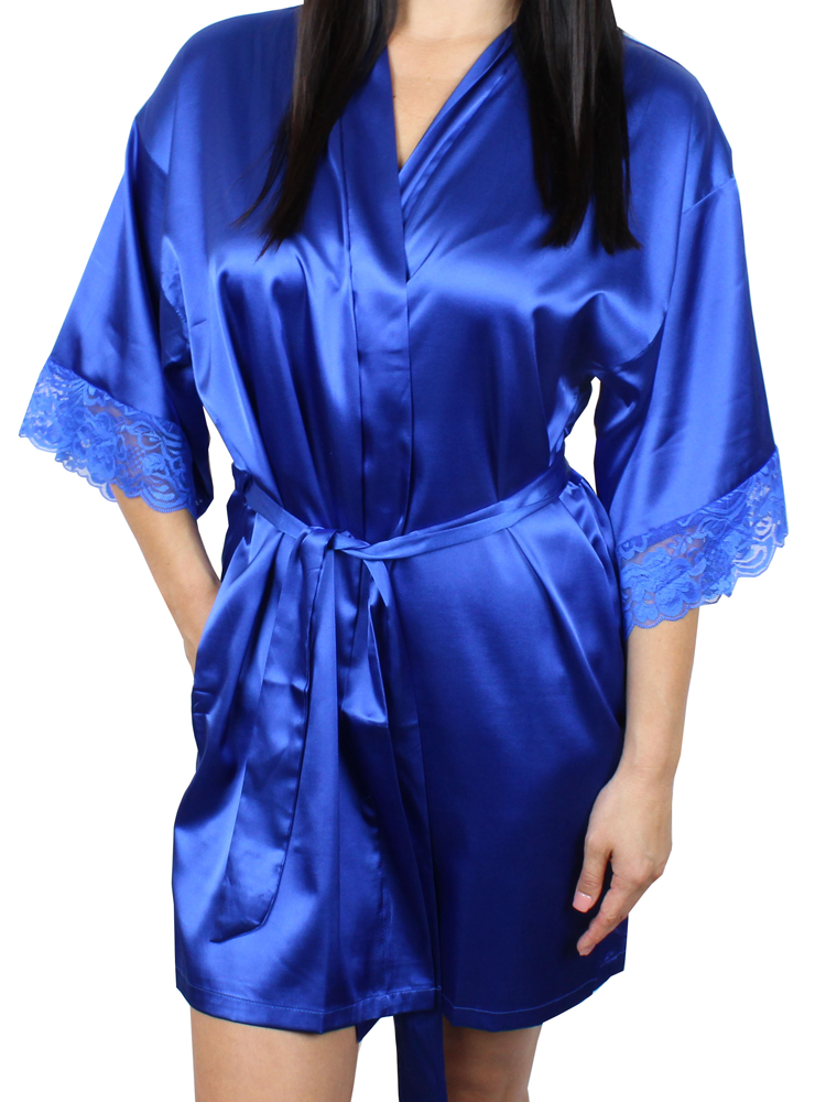 Women s Satin Kimono Short Robe with Lace Trim Sleeves - MsLovely 72fdd3620