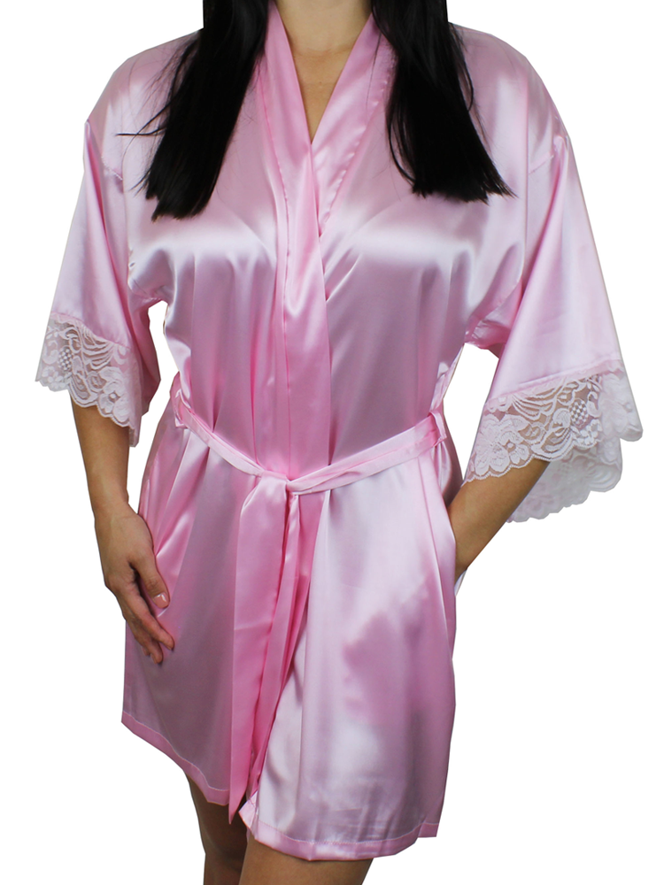 1efbd1e2f Women's Satin Kimono Short Robe with Lace Trim Sleeves - MsLovely