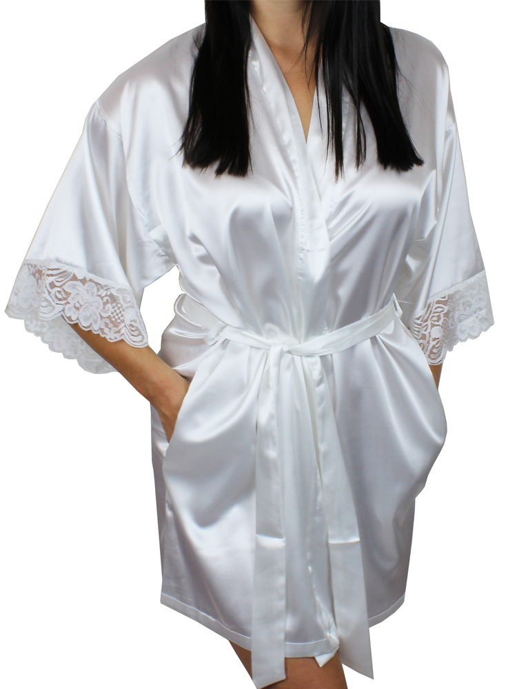916b0dca13 Women s Satin Kimono Short Robe with Lace Trim Sleeves - MsLovely