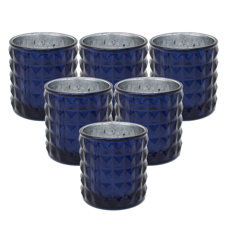 Ms Lovely Large Studded Glass Votive Tealight Candle Holders - Set of 6