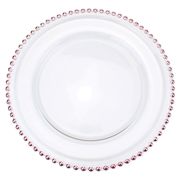 Glass Charger Plate With Beaded Rim - Set of 4