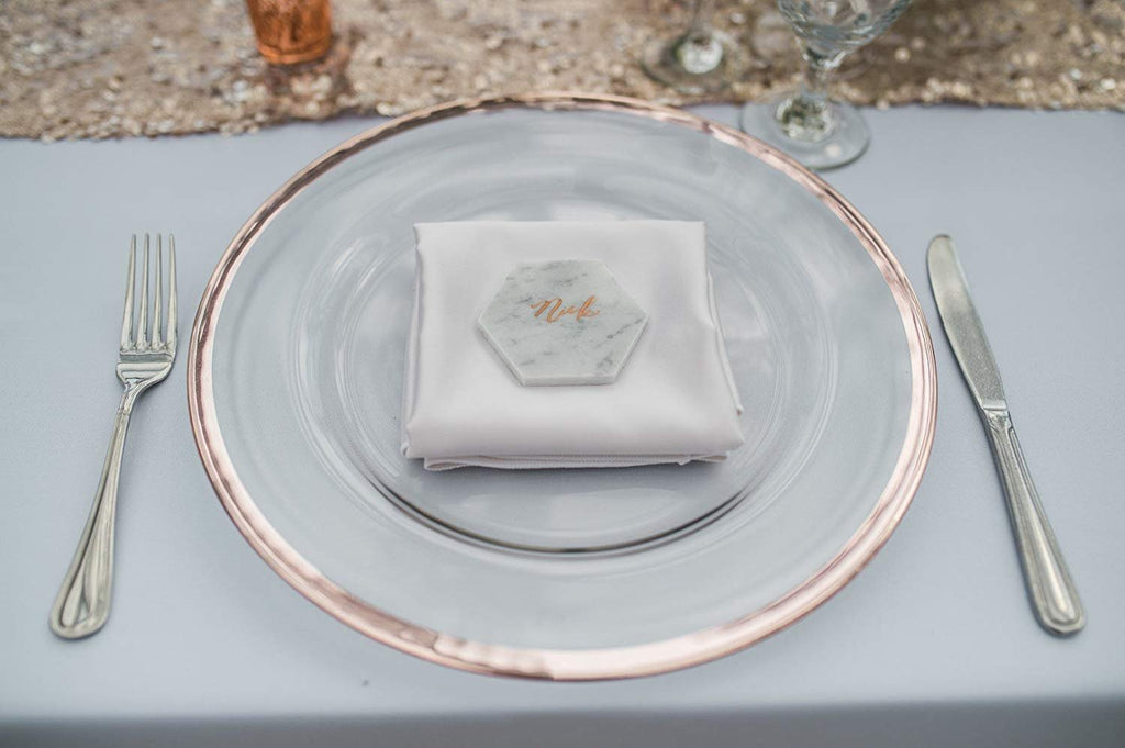 Glass Charger Plate With Metallic Rim - Set of 4