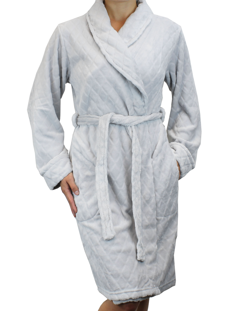 Short Quilted Pattern Fleece Robe