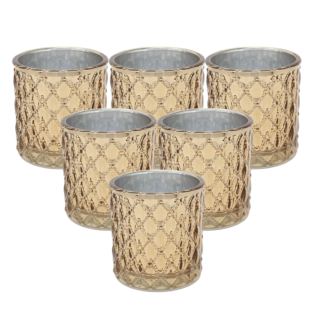 Large Quilted Glass Votive Tealight Candle Holders - Set of 6