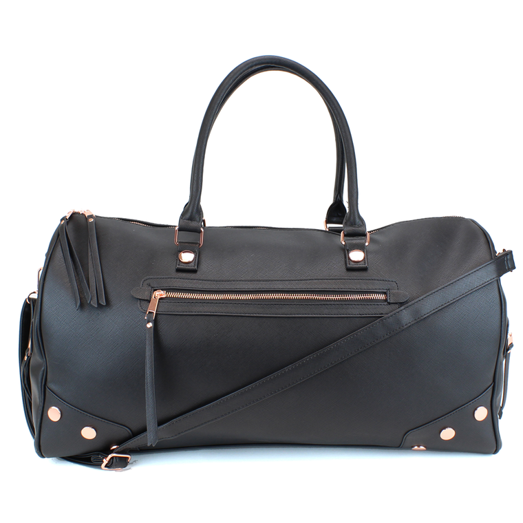 Studded PU Leather Weekender Duffel Bag with Rose Gold Hardware