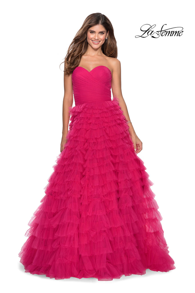 IN STOCK BLACK SIZE 8, HOT PINK SIZE 4, RED SIZE 0 La Femme Style 28345