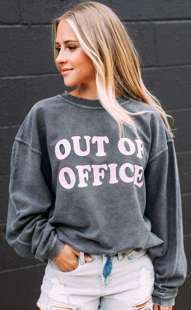 Graphic Corded Sweatshirt - Out of Office - Slate
