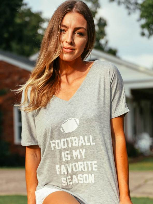 Graphic Tee - Football is my favorite season V neck