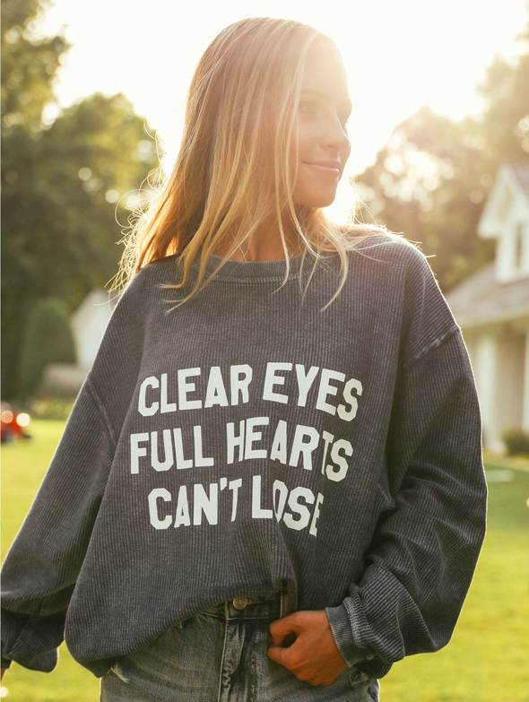 Graphic Corded Sweatshirt - Clear Eyes Full Hearts - Navy