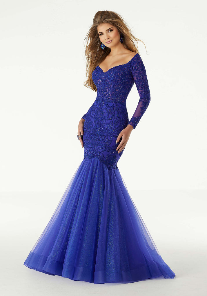 IN STOCK DUSTY ROSE SIZE 0, ROYAL SIZE 8, 12 Morilee Prom Style 43060