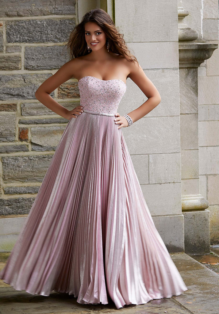 IN STOCK METALLIC BLUSH SIZE 8, METALLIC NAVY SIZE 4 Morilee Prom Style 45063