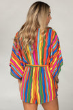 Buddy Love: Rivers Kimono Sleeve Romper - Rainbow Bright - Multi Stripes