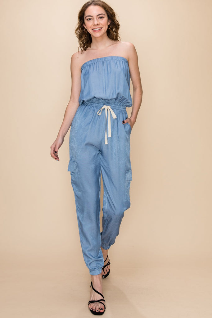 Chambray All Day - Tube Jumpsuit with drawstring waist