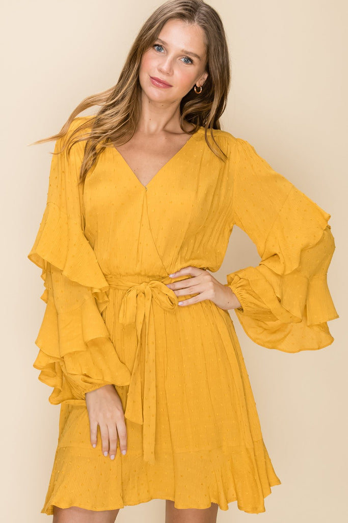 Golden Hour - Yellow Dress with Ruffle Long Sleeves