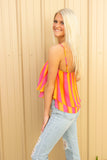 Buddy Love: Genna Short Swing Tank Top - Fruity Pebbles - Orange Stripes