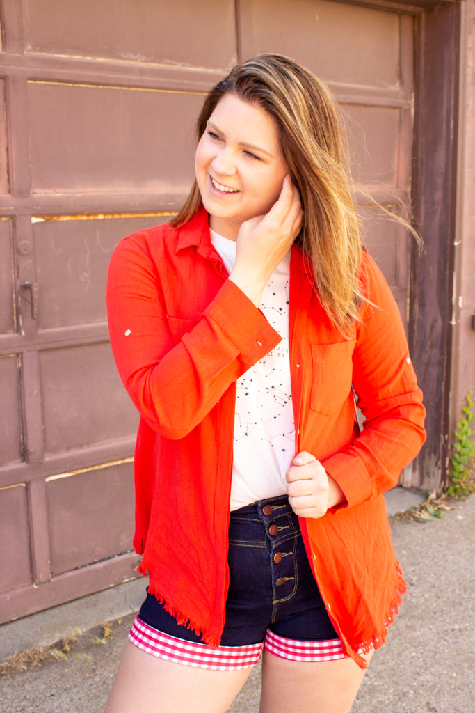 Roma Top - Blood orange button up top with raw edge