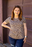 V Neck Tee - Wild Child Cheetah Print