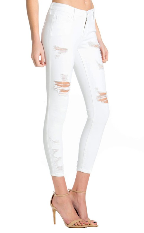Katie distressed white Jeans