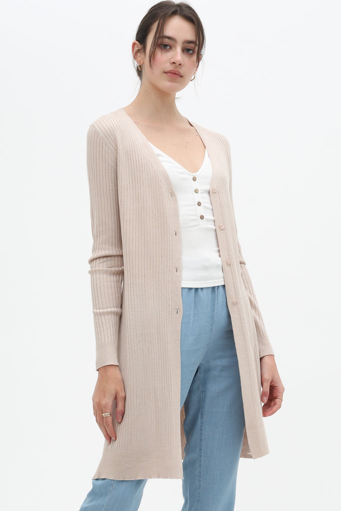 Layer it - Button Up Long Cardigan - Oatmeal