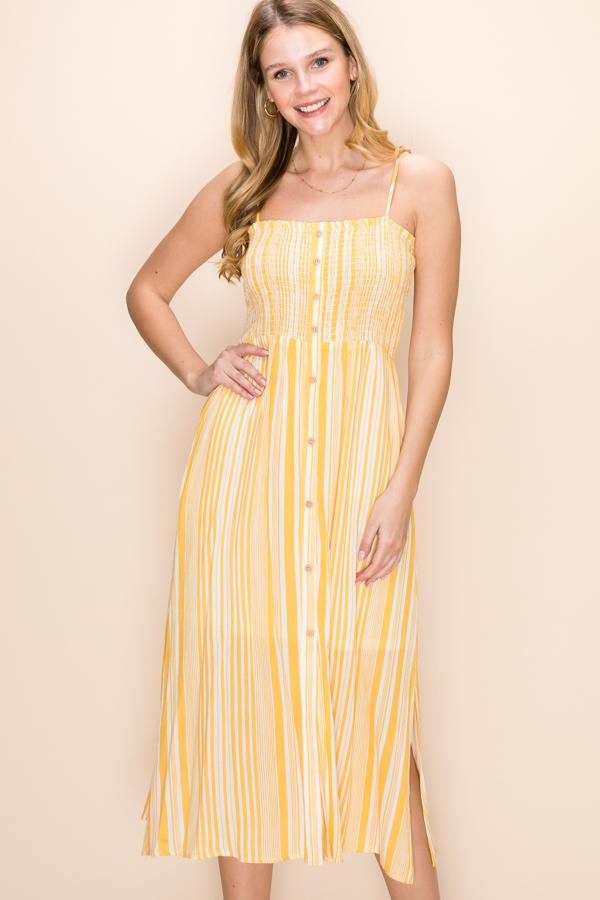 Pacific Coast - Striped Smocked Button Front Dress - Yellow and White