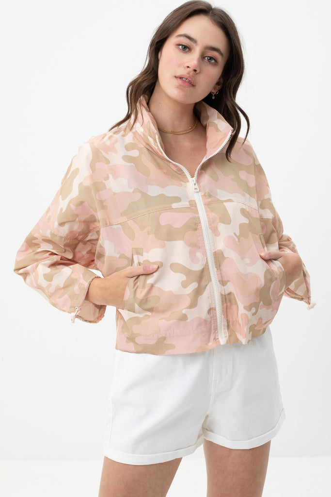 Sweet Style Camo Cropped Windbreaker Jacket - Soft Pink