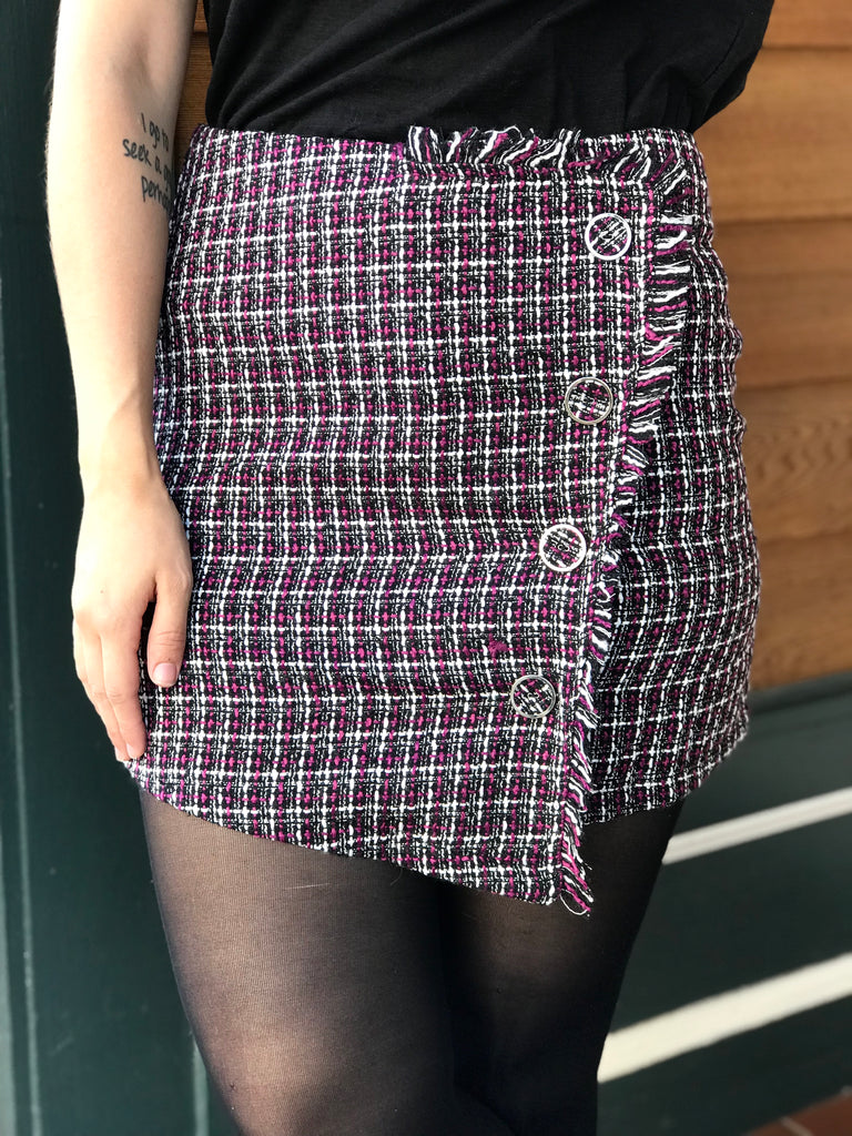 Small - Rachel Green Tweed Skirt - Magenta
