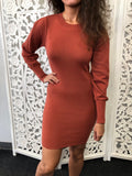 Noel Long Sleeve Sweater Dress - Rust