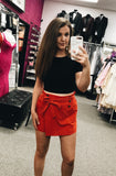 Large - Red Rojo Skort with button detail