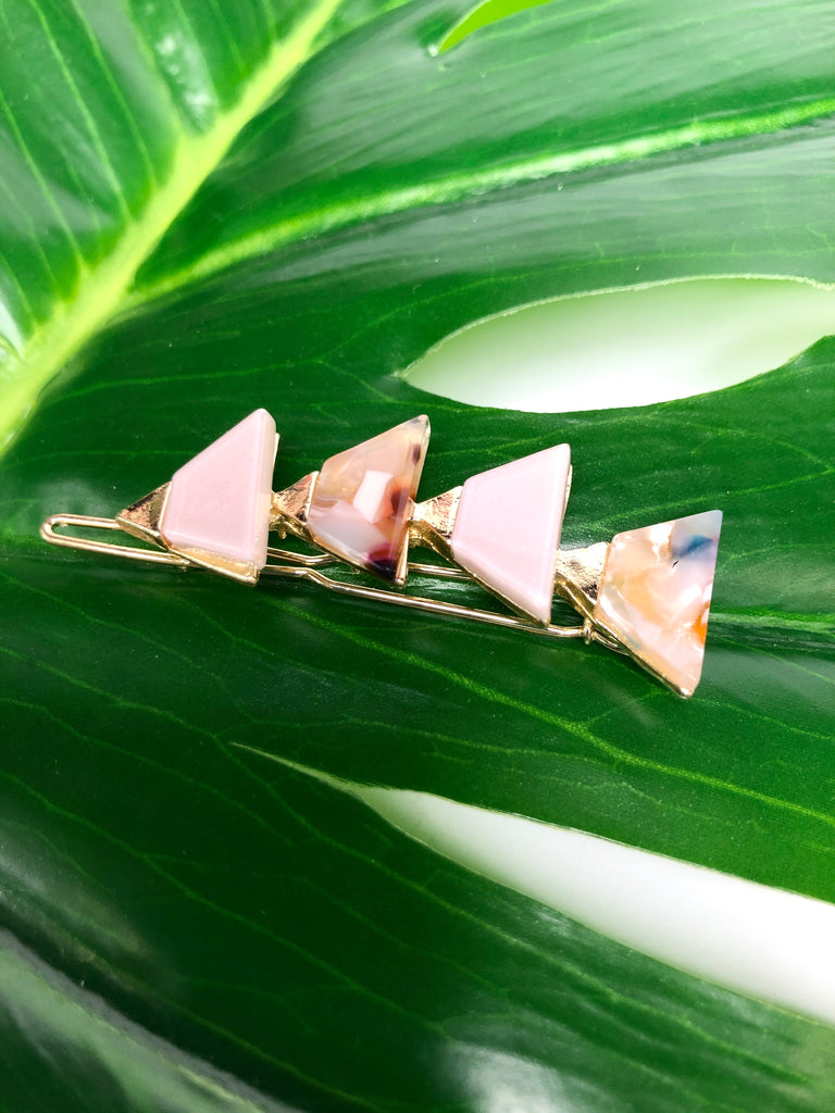 Pink with gold triangle hair clip