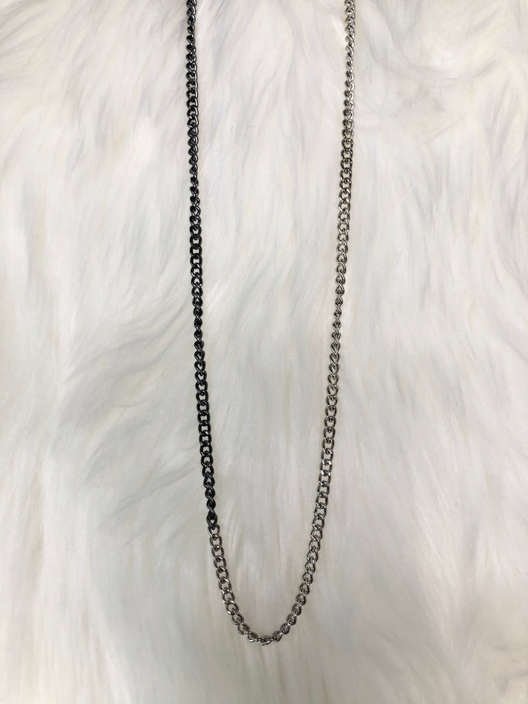 Dainty Two Tone Mask Chain - Silver with Black