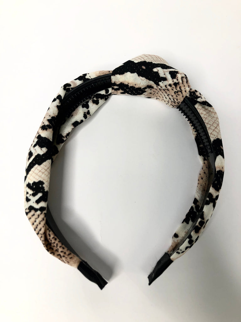 Snake headband with knot detail - brown