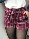 Large - Plaid shorts Wine